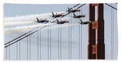 Blue Angels And The Bridge Beach Towel by Bill Gallagher