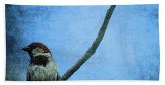 Sparrow On Blue Beach Towel by Dan Sproul