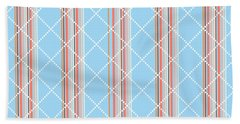 Blue Stripe Pattern Beach Towel by Christina Rollo