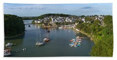 Boats In The Sea, Le Bono, Gulf Of Beach Towel by Panoramic Images