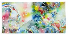 Bob Dylan And Joan Baez Watercolor Portrait.1 Beach Towel by Fabrizio Cassetta