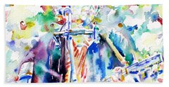 Bob Dylan Playing The Guitar - Watercolor Portrait.1 Beach Towel by Fabrizio Cassetta