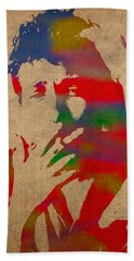Bob Dylan Watercolor Portrait On Worn Distressed Canvas Beach Towel by Design Turnpike