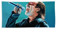 Bono Of U2 Painting Beach Towel by Paul Meijering