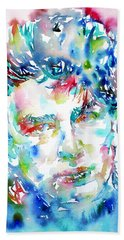 Bono Watercolor Portrait.1 Beach Towel by Fabrizio Cassetta