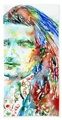 Bono Watercolor Portrait.2 Beach Towel by Fabrizio Cassetta