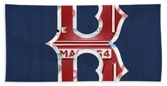 Boston Red Sox Logo Letter B Baseball Team Vintage License Plate Art Beach Towel by Design Turnpike
