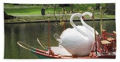 Boston Swan Boats Beach Towel by Barbara McDevitt