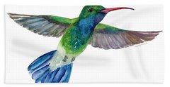 Broadbilled Fan Tail Hummingbird Beach Towel by Amy Kirkpatrick