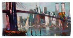 Brooklyn Bridge And Twin Towers Beach Towel by Ylli Haruni