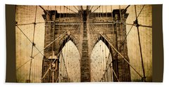 Brooklyn Bridge Nostalgia Beach Towel by Jessica Jenney