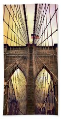 Brooklyn Bridge Sunrise Beach Towel by Jessica Jenney