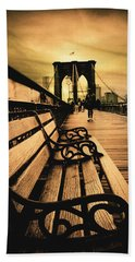 Brooklyn Bridge Sunset Beach Sheet by Jessica Jenney