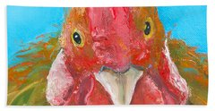 Brown Rooster On Blue Beach Towel by Jan Matson