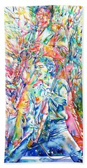 Bruce Springsteen And Clarence Clemons Watercolor Portrait Beach Towel by Fabrizio Cassetta