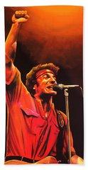 Bruce Springsteen Painting Beach Sheet by Paul Meijering