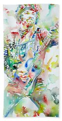 Bruce Springsteen Playing The Guitar Watercolor Portrait Beach Towel by Fabrizio Cassetta