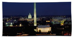 Buildings Lit Up At Night, Washington Beach Towel by Panoramic Images