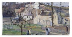 Cabbage Patch Near The Village Beach Towel by Camille Pissarro