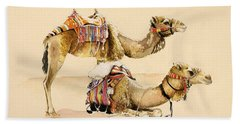 Camels From Petra Beach Sheet by Alison Cooper