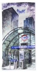 Canary Wharf Station Art Beach Towel by David Pyatt