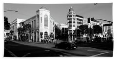 Car Moving On The Street, Rodeo Drive Beach Sheet by Panoramic Images