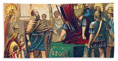 Beach Towel featuring the photograph Caractacus Before Emperor Claudius, 1st by British Library