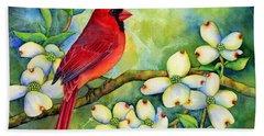 Cardinal On Dogwood Beach Towel by Hailey E Herrera