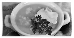 Cauliflower Soup Beach Sheet by Iris Richardson