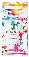 Chanel Number Five Paint Splatter Beach Towel by Dan Sproul