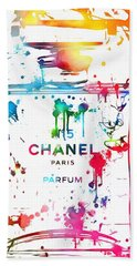 Chanel Number Five Paint Splatter Beach Sheet by Dan Sproul