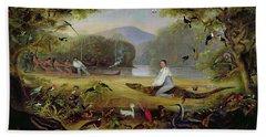 Charles Waterton Capturing A Cayman, 1825-26 Beach Sheet by Captain Edward Jones
