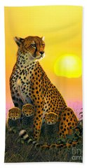 Cheetah And Cubs Beach Sheet by MGL Studio - Chris Hiett