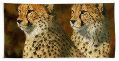 Cheetah Brothers Beach Towel by David Stribbling