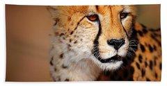 Cheetah Portrait Beach Sheet by Johan Swanepoel