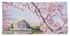 Jefferson Memorial Cherry Blossoms Beach Towel by Patty Kay Hall