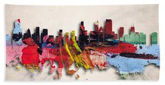 Chicago Painted City Skyline Beach Towel by World Art Prints And Designs