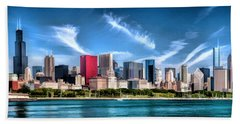 Chicago Skyline Panorama Beach Sheet by Christopher Arndt
