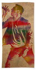 Chris Martin Coldplay Watercolor Portrait On Worn Distressed Canvas Beach Sheet by Design Turnpike