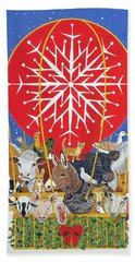 Christmas Journey Oil On Canvas Beach Towel by Pat Scott