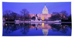Christmas, Us Capitol, Washington Dc Beach Sheet by Panoramic Images