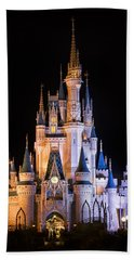 Cinderella's Castle In Magic Kingdom Beach Sheet by Adam Romanowicz