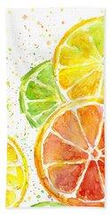 Citrus Fruit Watercolor Beach Towel by Olga Shvartsur