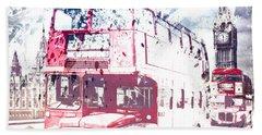 City-art London Red Buses On Westminster Bridge Beach Towel by Melanie Viola