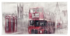 City-art London Westminster Collage II Beach Towel by Melanie Viola