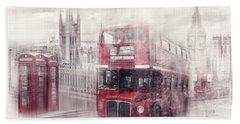 City-art London Westminster Collage II Beach Sheet by Melanie Viola