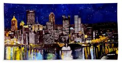 City Of Pittsburgh At The Point Beach Towel by Christopher Shellhammer