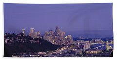 City Skyline At Dusk, Seattle, King Beach Sheet by Panoramic Images