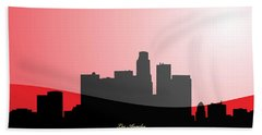 Cityscapes- Los Angeles Skyline In Black On Red Beach Sheet by Serge Averbukh