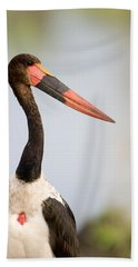 Close-up Of A Saddle Billed Stork Beach Towel by Panoramic Images